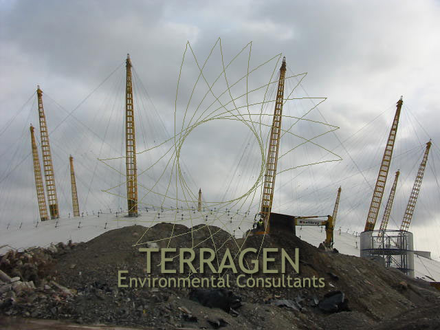 Earthworks outside the Millennium Dome